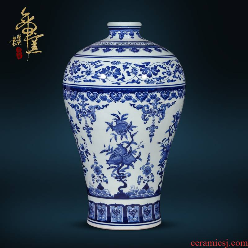 Jingdezhen ceramics imitation the qing qianlong hand - made Chinese blue and white porcelain vase sitting room porch TV ark, flower arranging furnishing articles