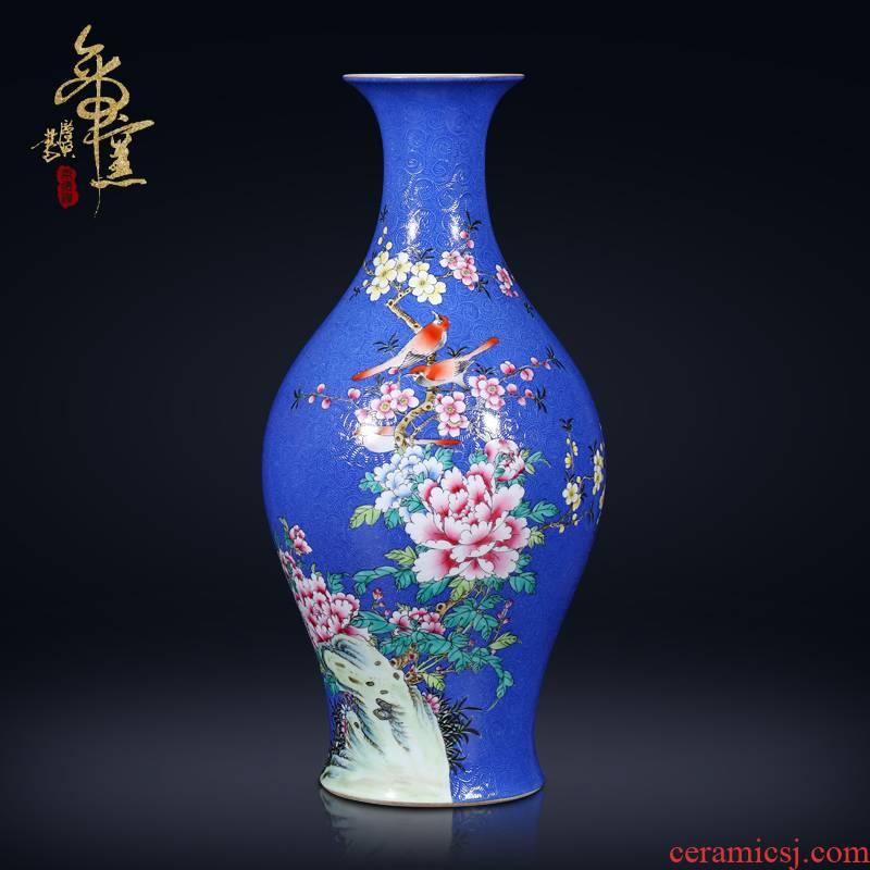 Jingdezhen ceramics antique hand - made pastel blue scramble for olive bottles of Chinese style living room TV ark, flower arranging furnishing articles