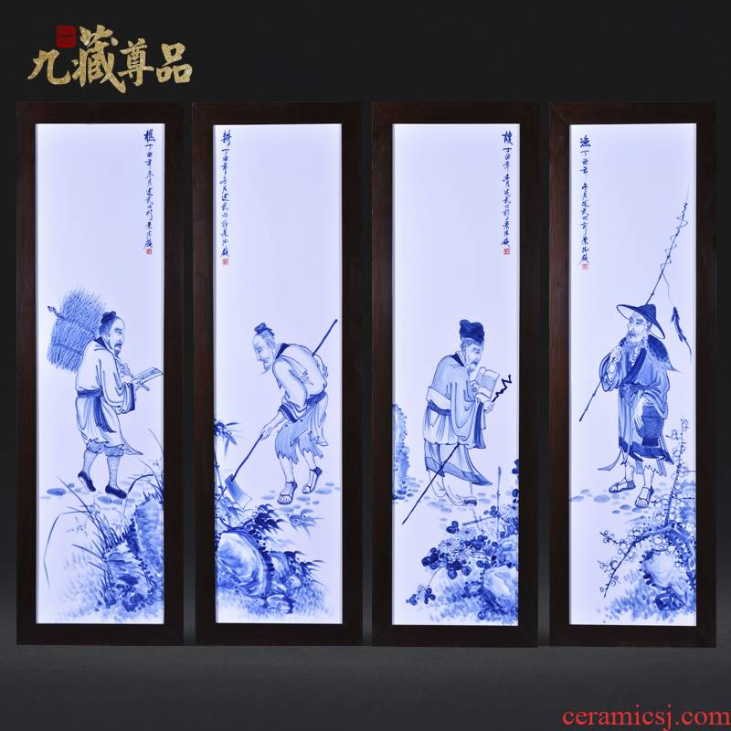 Jingdezhen ceramics Liu Shuwu hand - made the fishing qiao geng read four screen porcelain plate painting the sitting room adornment household furnishing articles