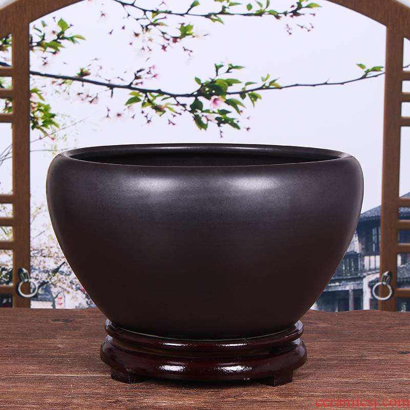 Jingdezhen ceramic aquarium tortoise cylinder large desktop goldfish bowl lotus basin water lily cylinder refers to porcelain porcelain jar