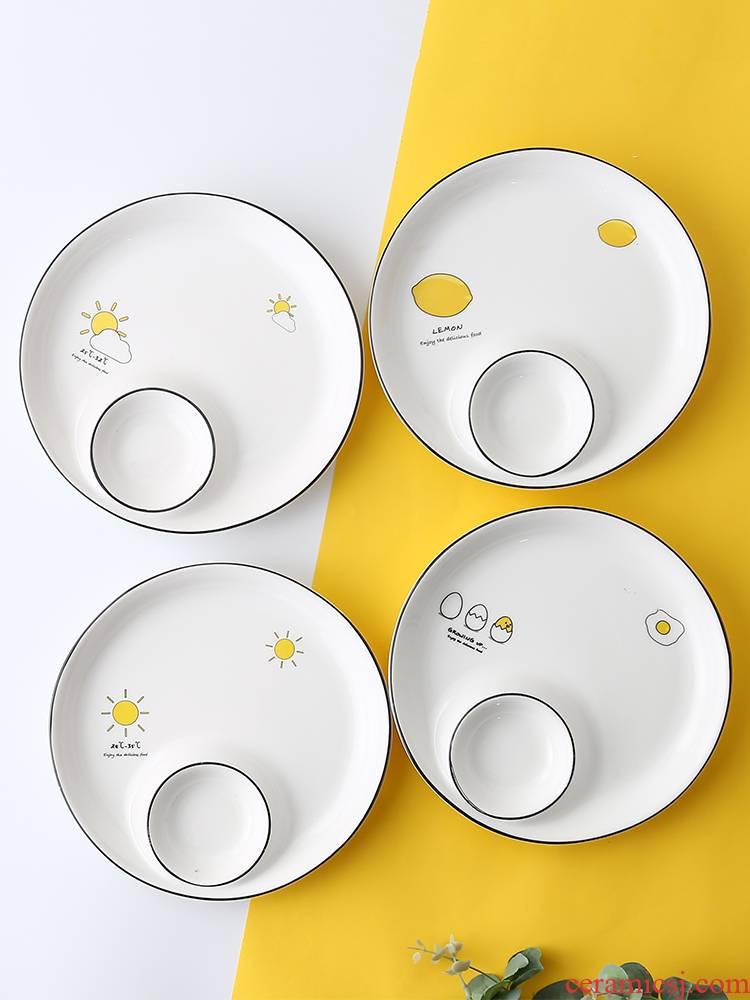 Pampas Japanese household dumpling dribbling vinegar dish one round ceramic tableware creative dumplings cold dish condiment