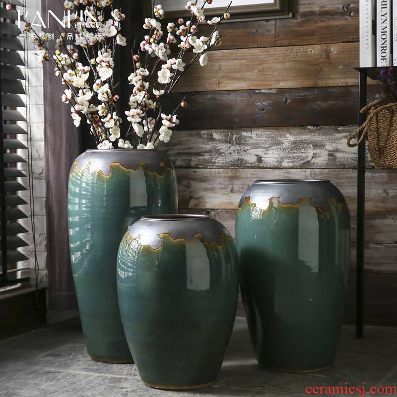Archaize floor vase of dry flower arranging large Chinese style villa hotel restoring ancient ways is the sitting room porch ceramic home furnishing articles