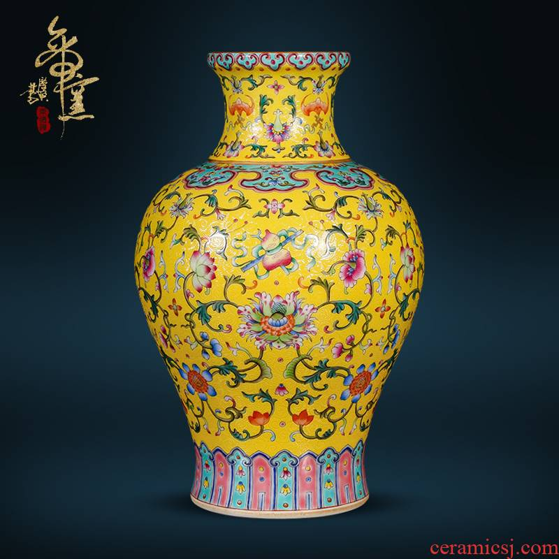 Jingdezhen ceramics imitation the qing qianlong pastel pick flowers, and dark, the eight immortals branch grain to design Chinese style living room furnishing articles
