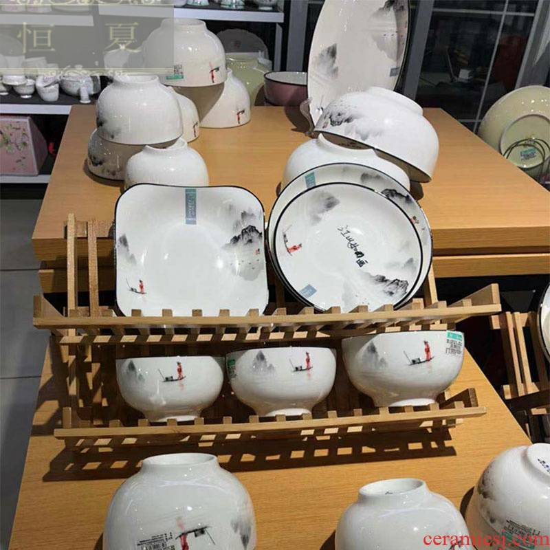 Optimal statute of household ceramic tableware wash to jiangshan picturesque Chinese wind wind eat rice bowls rainbow such use cheese plate