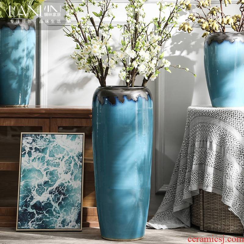 Landing a large ceramic vase furnishing articles contracted and I sitting room dry flower arranging flowers porcelain hotel villa decoration POTS