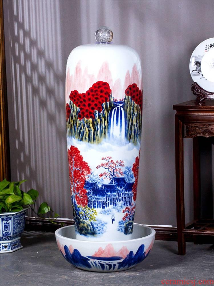 Jingdezhen ceramics hand - made pastel landscape humidifier water fountain furnishing articles large opening housewarming gift
