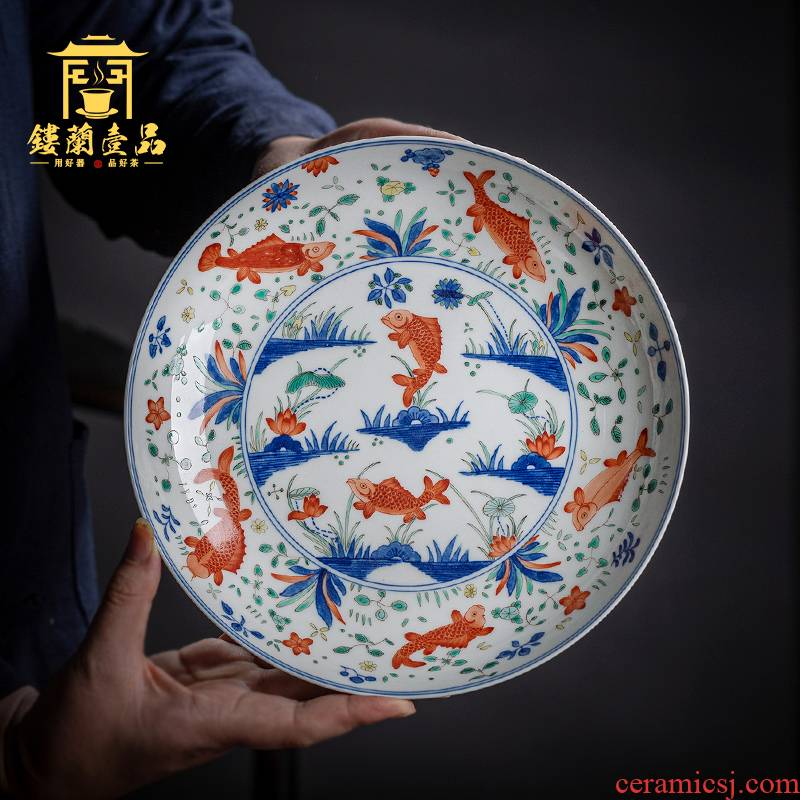 Jingdezhen checking ceramic bucket color lotus left algal tray was home tea tea pet accessories accessories furnishing articles