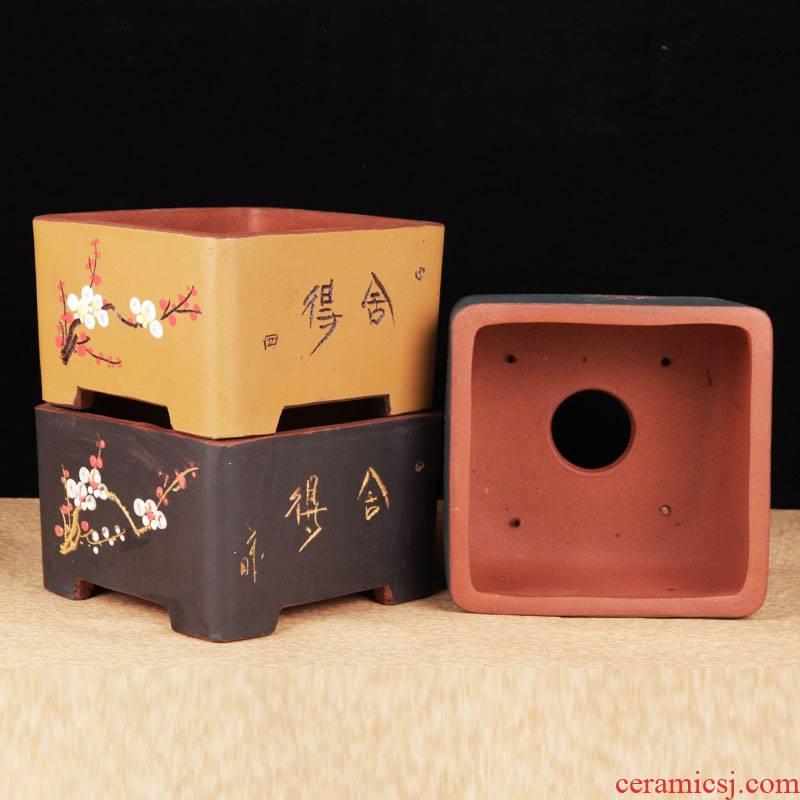 Yixing purple sand bonsai pot boutique square bonsai high - end desktop rectangle pot sitting room indoor miniascape L