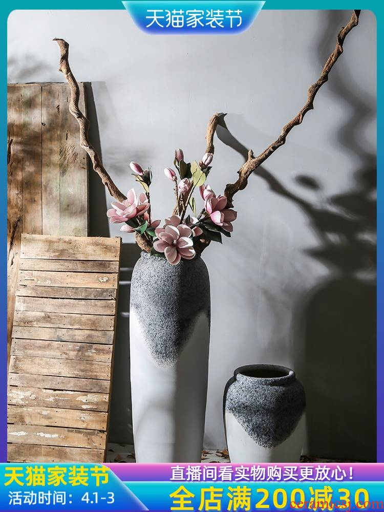 Ancient pottery vase jingdezhen villa living room coarse pottery flower flower implement mall between example balcony floor furnishing articles
