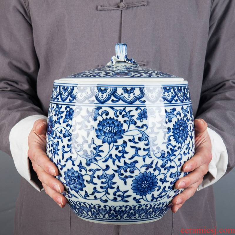 Jingdezhen ceramic seal caddy fixings storage tank large household puer tea cake tin deposit receives storage place