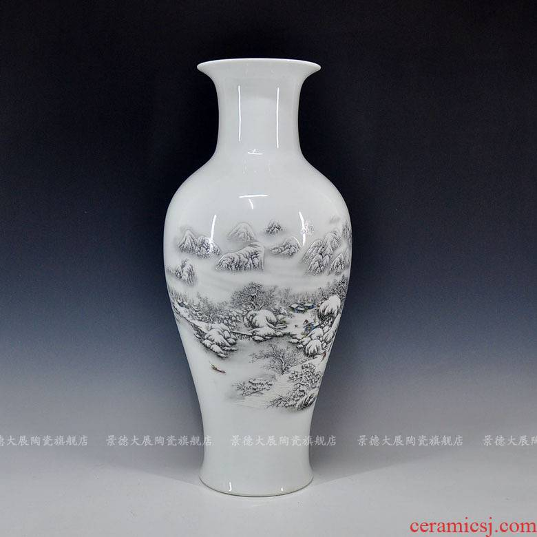 Vase sitting room office furnishing articles furnishing articles of jingdezhen ceramics snow ground vases, ceramic bottle furnishing articles