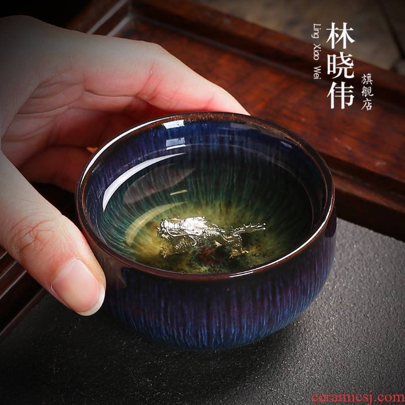 Silver up ceramic cups kung fu tea set Chinese zodiac Silver sample tea cup to build master cup single cup bowl