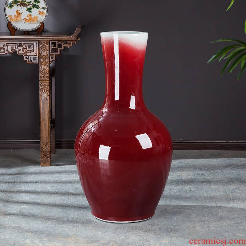 Jingdezhen ceramics ruby red tail landing big vase sitting room place large tree home decoration