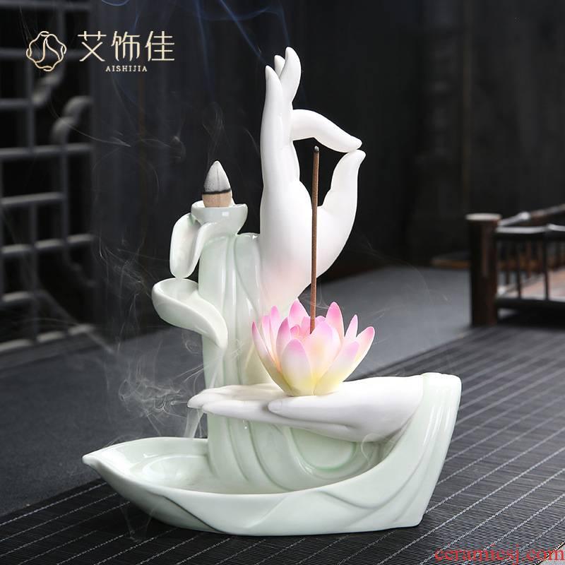 Ceramic backflow censer bergamot insert large lotus fragrance home sitting room ta head of zen furnishing articles of handicraft