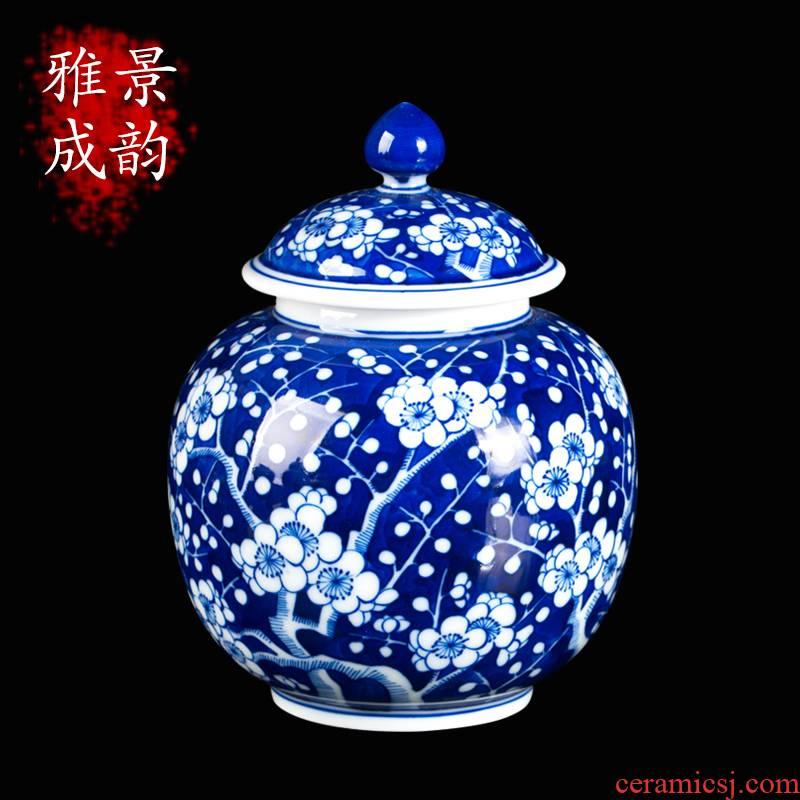 Blue and white porcelain of jingdezhen ceramics hand - made name plum flower tea pot home sitting room adornment teahouse tea pot furnishing articles