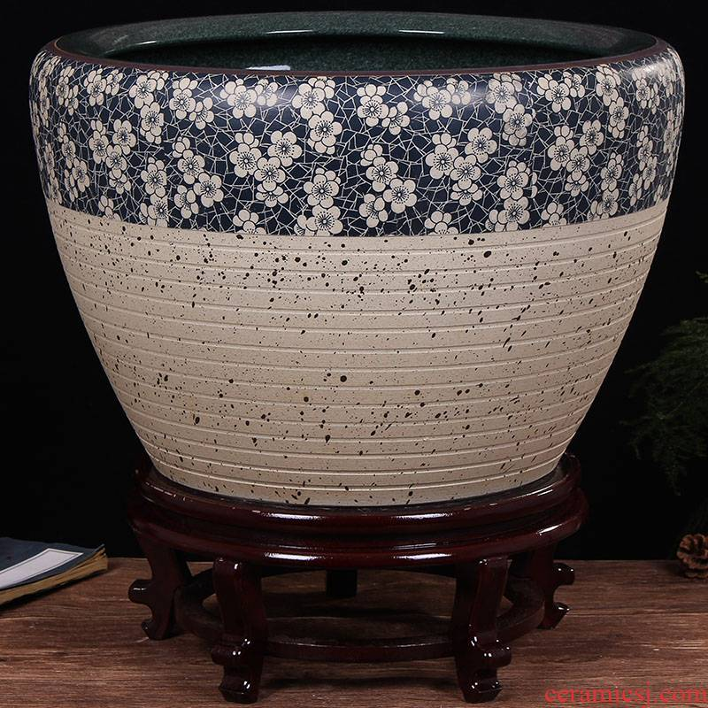 Jingdezhen ceramic aquarium fish bowl lotus extra large bowl lotus lotus flower pot balcony garden feng shui water tanks
