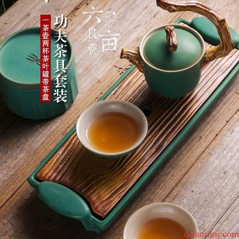 Ceramic kung fu tea set gift tea set a pot of office home five lines of two cups of tea set