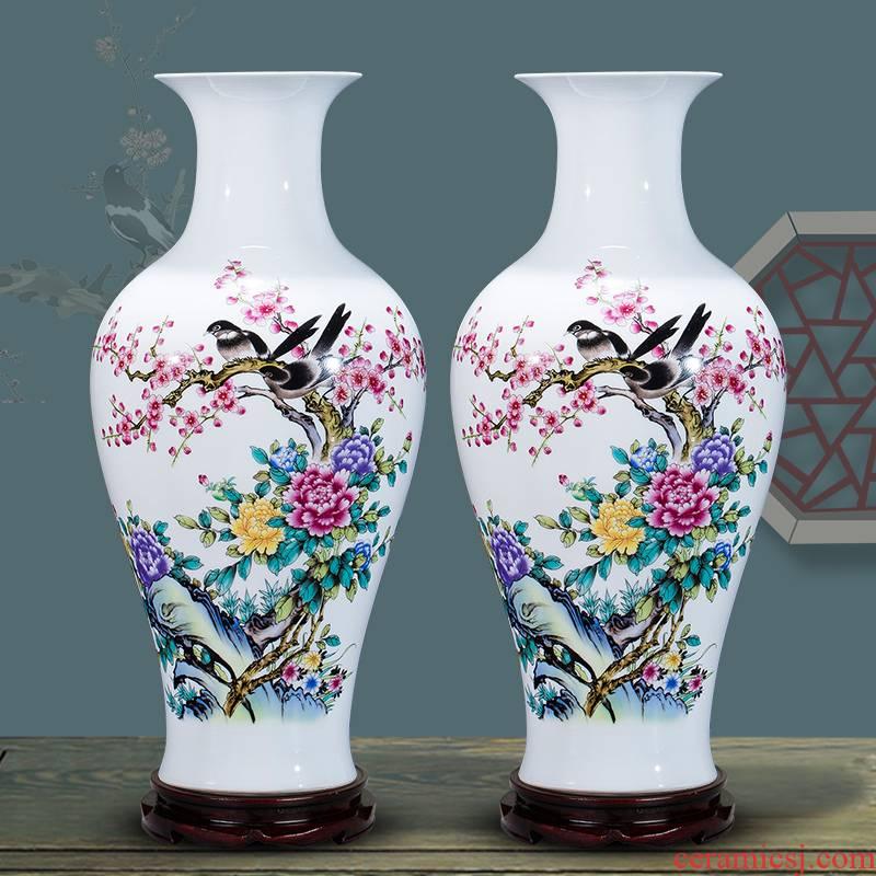Jingdezhen ceramics flower vase flower arranging furnishing articles of Chinese style living room TV cabinet decoration decoration large study