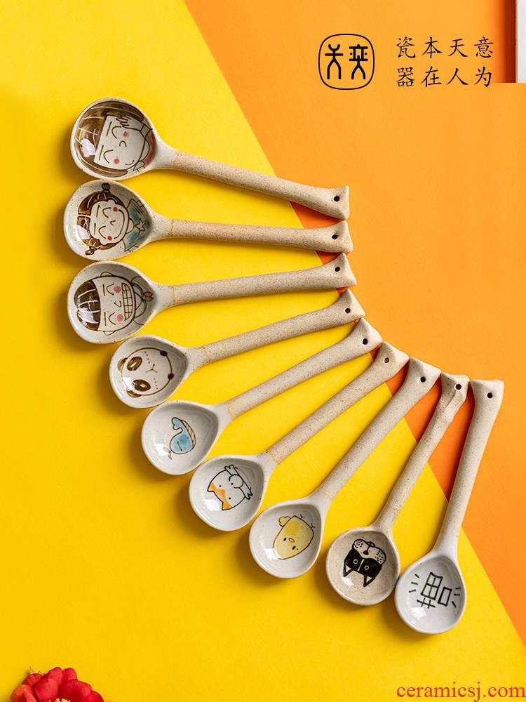 Day Wilson of jingdezhen ceramic spoon hand creative cartoon express children rice ladle soup spoon, big long handle household Japanese