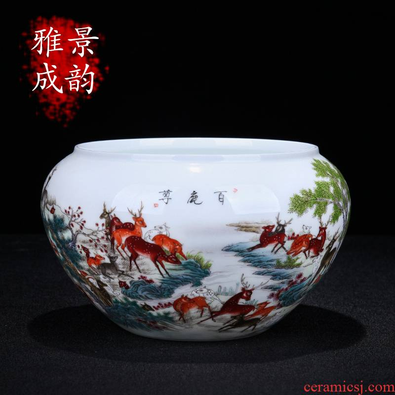 Jingdezhen ceramic sitting room porch the deer statute of writing brush washer of the study of new Chinese style household porcelain decoration arts and crafts