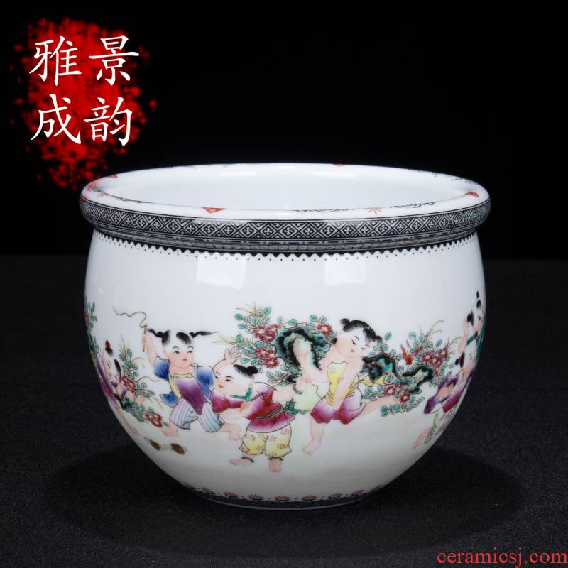 Jingdezhen ceramic new Chinese hand - made tong qu figure lotus seed cylinder decorative furnishing articles rich ancient frame sitting room decoration porcelain