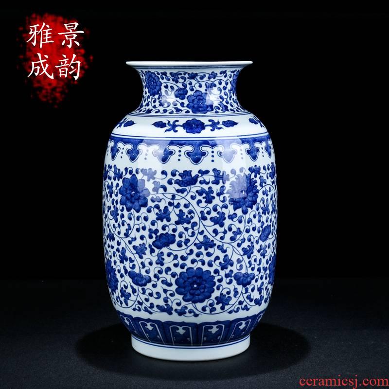 Jingdezhen ceramic new Chinese blue and white porcelain vases, decorative furnishing articles home sitting room flower arrangement craft gift porcelain