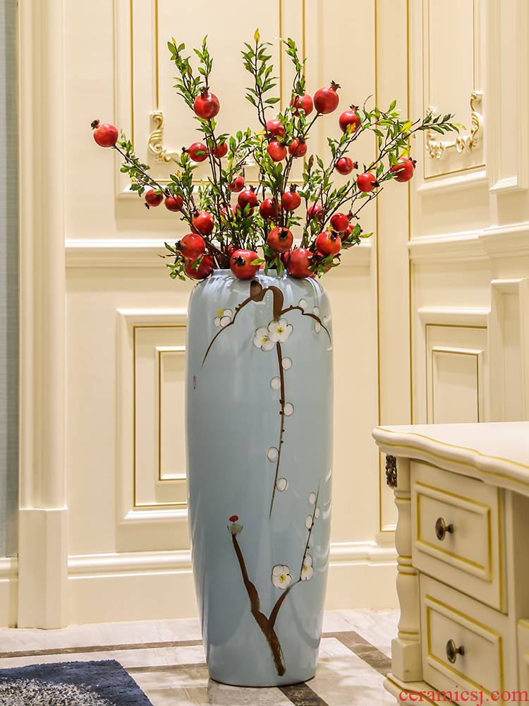 Jingdezhen dried flower vase landing large ceramic new Chinese style is I and contracted sitting room porch flower arranging furnishing articles