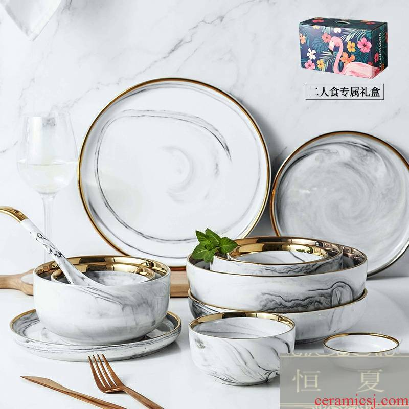 2 set up Phnom penh marble ceramic dishes and cutlery set of dishes combination of household of 4 P Nordic style