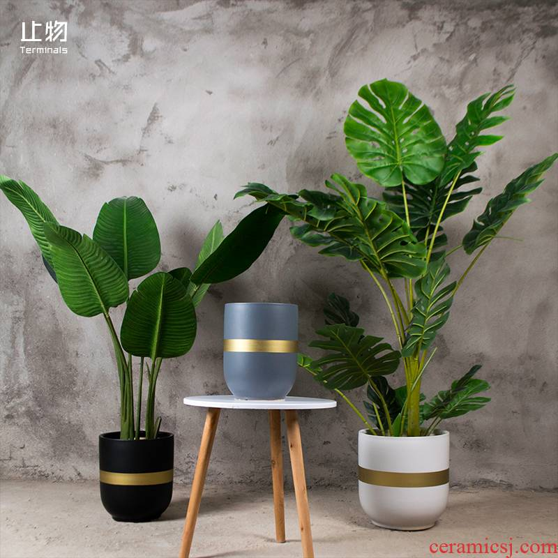 The Big flower pot household green plant to heavy up phnom penh is inferior smooth white ceramic flower pot Nordic contracted sitting room ground flowerpot