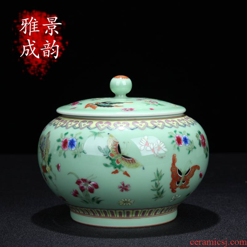 Jingdezhen ceramic hand - made butterfly caddy fixings of new Chinese style household general storage tank sitting room tea snacks