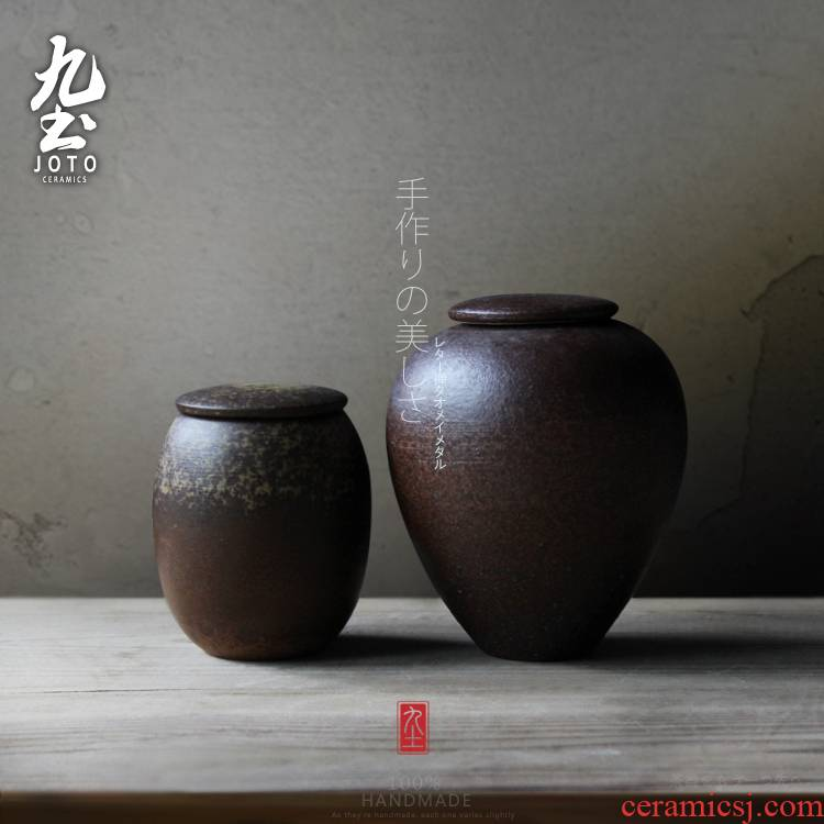 About Nine soil checking ceramic tea storehouse caddy fixings literary restoring ancient ways is simple storage tank size pu 'er tea pot