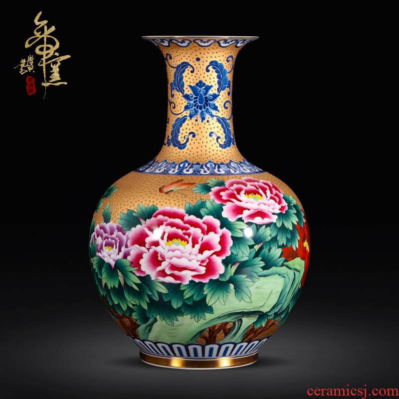 Jingdezhen ceramics antique hand - made with golden flowers open prosperous vase Chinese living room TV ark, rich ancient frame furnishing articles