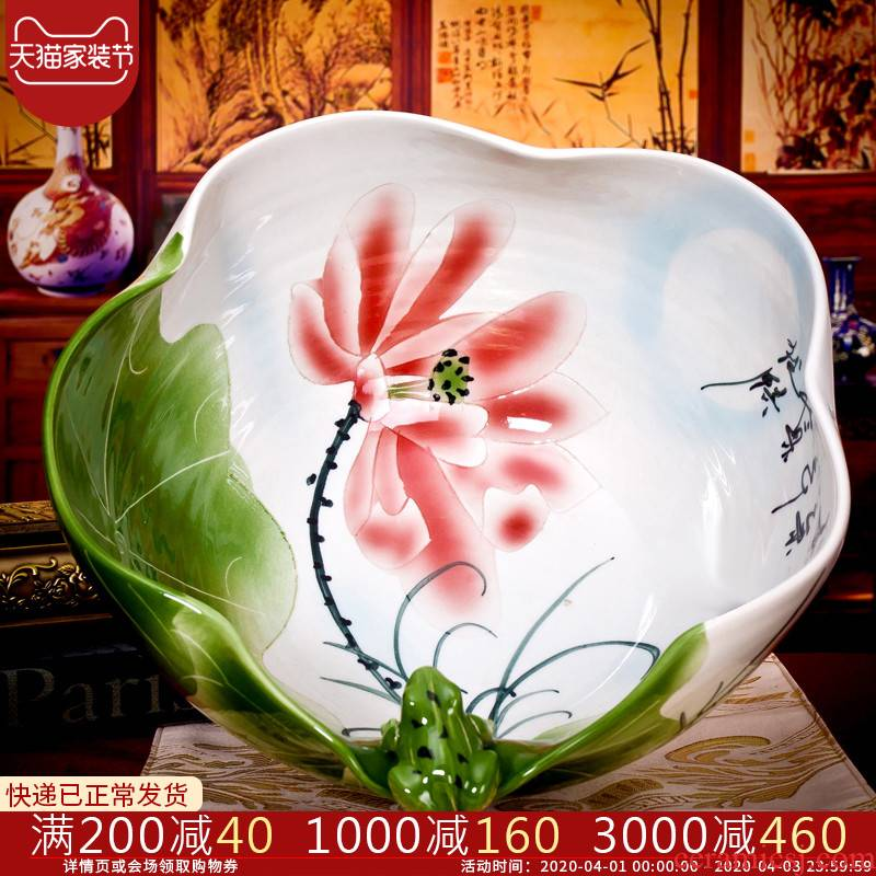 Jingdezhen ceramics aquarium hand - made water lily bowl lotus lotus leaf frog turtle cylinder cylinder flowerpot furnishing articles hc - 113
