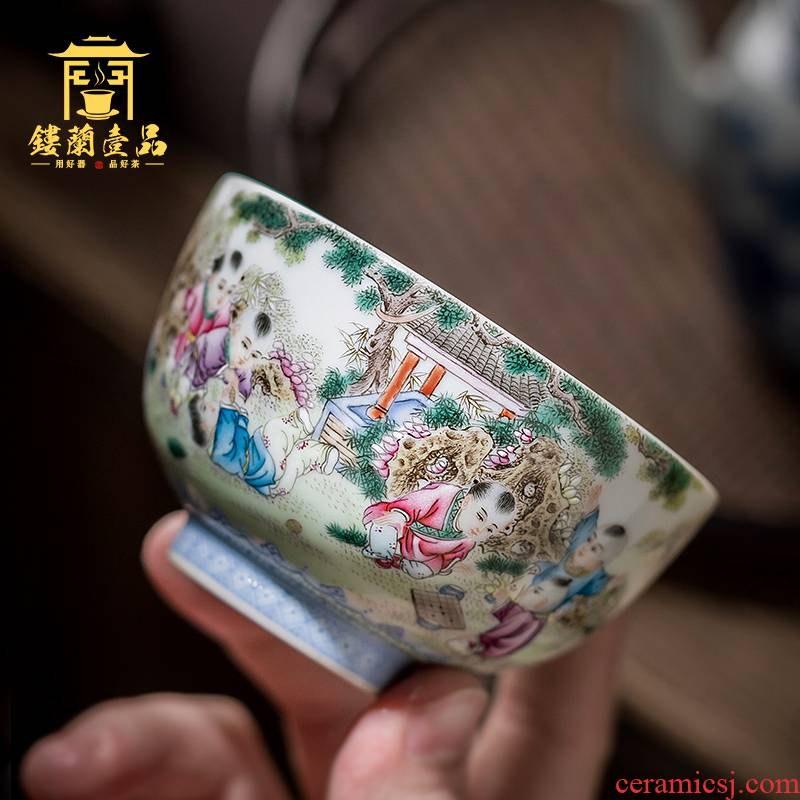 Jingdezhen ceramic all hand kung fu tea powder enamel the lad tea masters cup large bowl with single cup sample tea cup