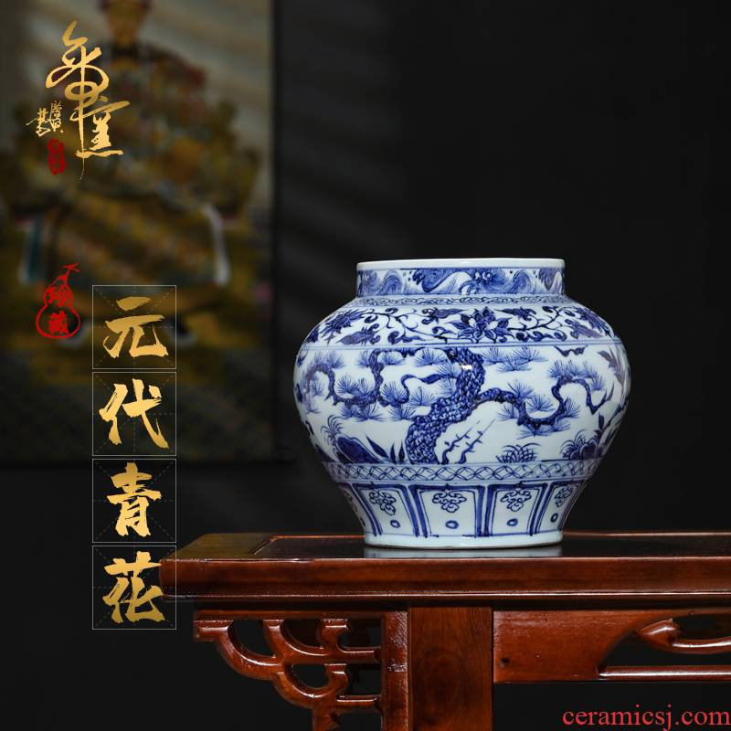 Emperor up antique porcelain yuan blue and white, poetic big jar of jingdezhen porcelain collection Chinese vase sitting room adornment