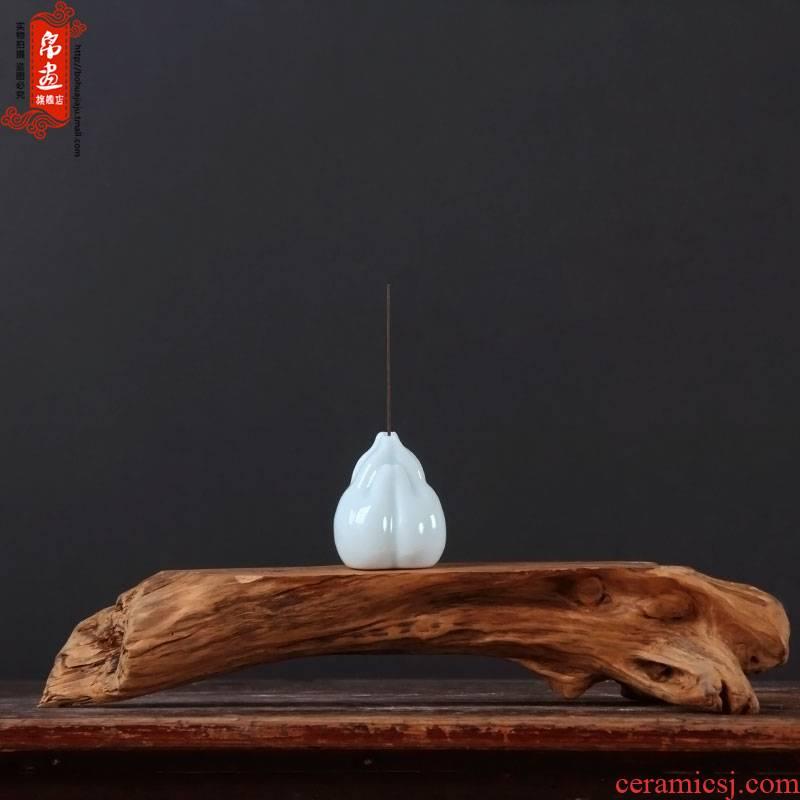 Creative manual cigarette lotus joss stick inserted zen point incense incense holder, ceramic household scented tea taking furnishing articles
