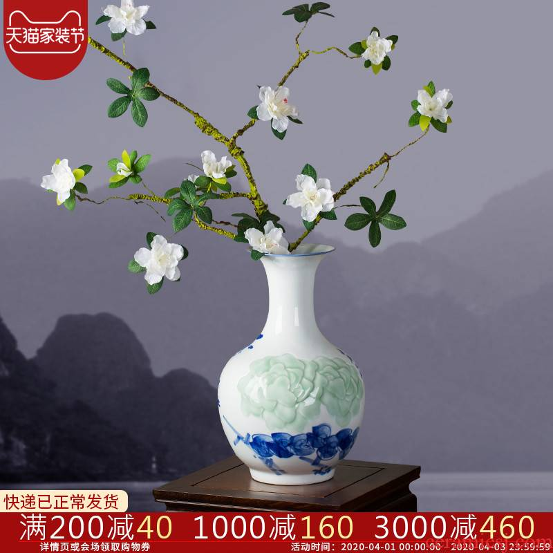 Jingdezhen ceramic hand - made of hand - carved peony vases of dry flower arranging home sitting room porch decoration furnishing articles