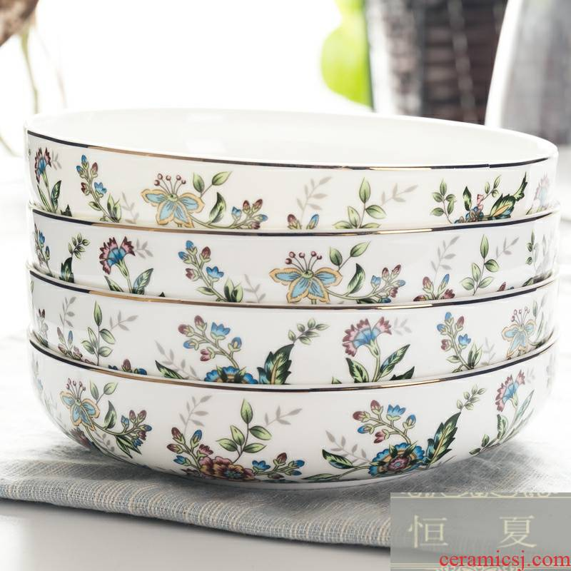 Only 4 ipads porcelain dish dish soup dish 8 inches nest dish household microwave paella round ceramic plate