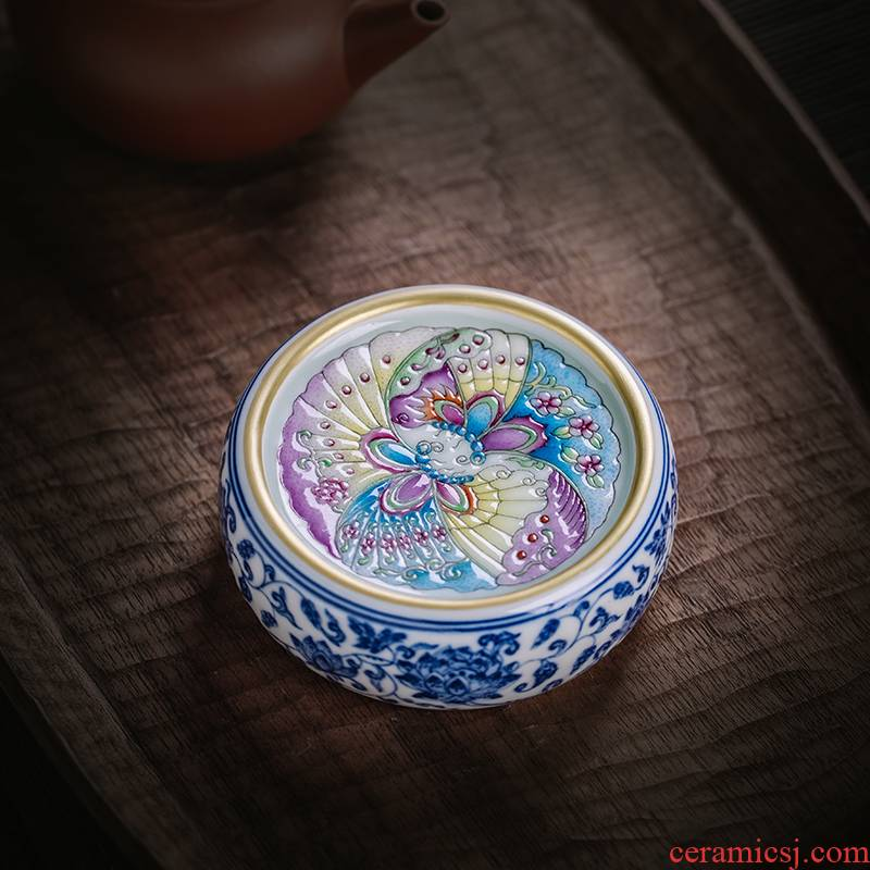 The Owl up jingdezhen tea checking ceramic cap lid doesn the blue and white tie up branch lotus enamel CaiHuDie