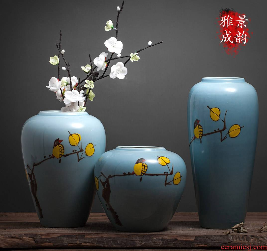 Jingdezhen ceramic painting of flowers and vase of new Chinese style living room small creative furnishing articles decoration hydroponic vase