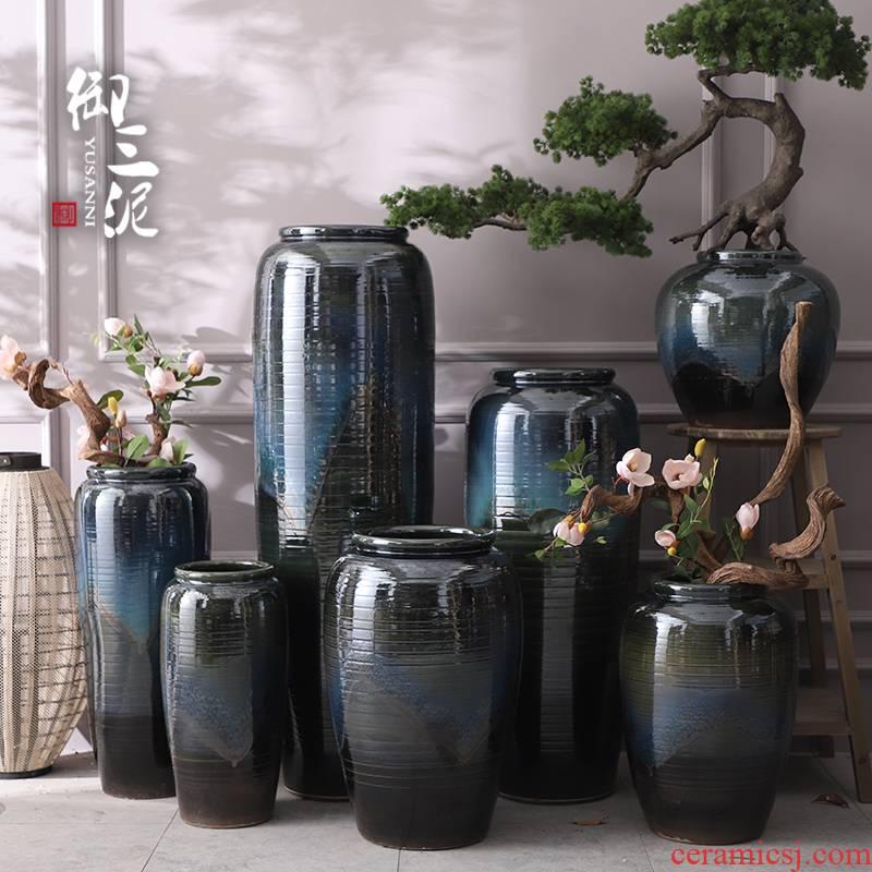 Jingdezhen ceramic furnishing articles European modern vase large living room decoration flower arranging hotel villa blue flower pot