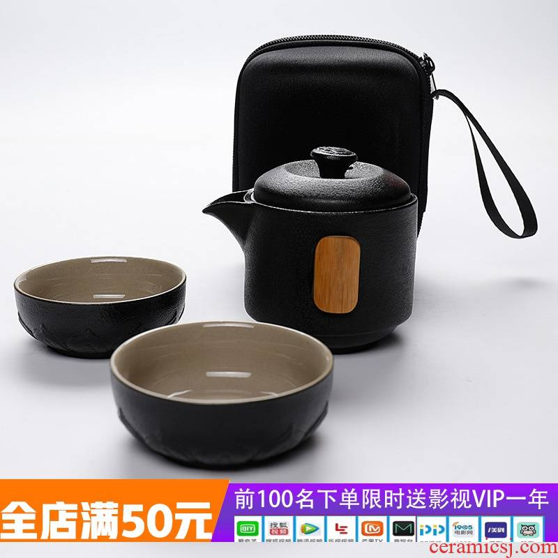 Black pottery clay phase crack cup a pot of two cup travel portable tea tea set gift ltd. customize logo