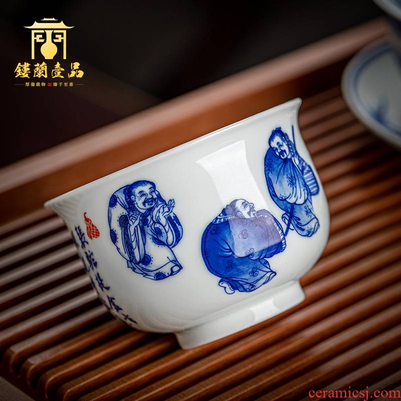 Jingdezhen ceramic hand - made antique blue - and - white rubbings all three camel figure furnace type cup sample tea cup master cup tea cups