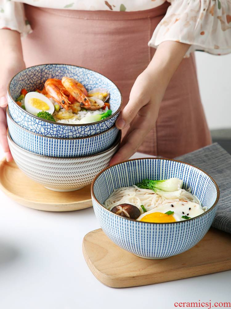 Ceramic bowl individual creative student individuality large web celebrity home noodles in soup bowl chopsticks restoring ancient ways single Japanese dishes