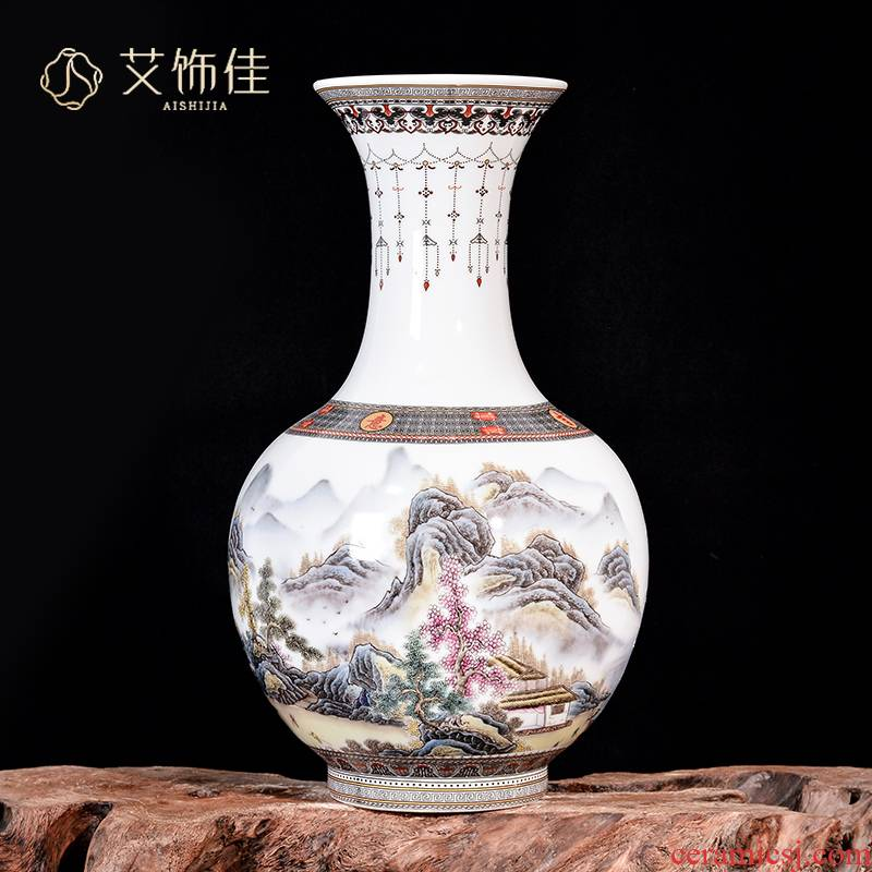Jingdezhen ceramics pastel landscape vase large flower arranging Chinese style living room TV ark, home furnishing articles