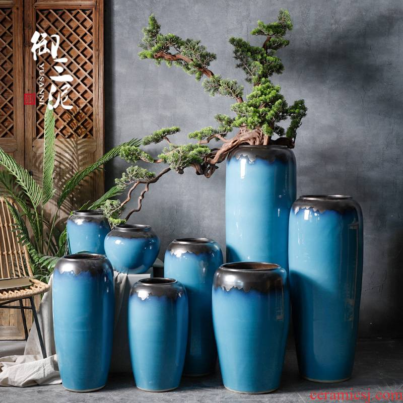 Dried flowers home decorations porch light key-2 luxury European - style decoration ceramics of large vase blue glaze furnishing articles flower arranging living room