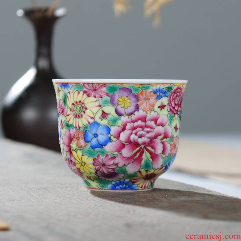 Owl up jingdezhen tea colored enamel hand - made ceramic cups kung fu master cup single cup flower is not open