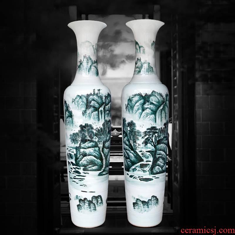 Jingdezhen ceramics hand - made landscape big vase landed home sitting room hotel villa decorations furnishing articles gifts