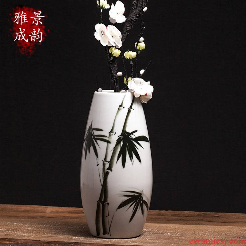 Jingdezhen ceramic household TV ark, flower arranging decorative arts and crafts porcelain vase furnishing articles Chinese creative restaurant