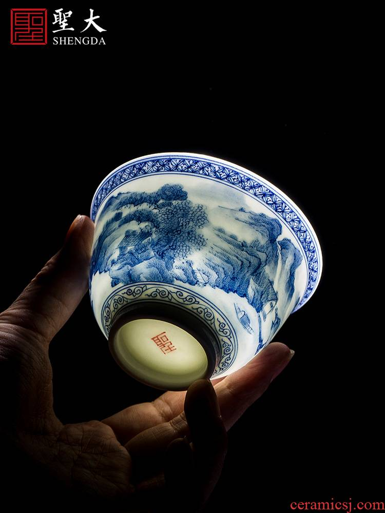 Holy big ceramic kung fu masters cup hand - made porcelain cups landscape cup all hand bell jingdezhen tea cup